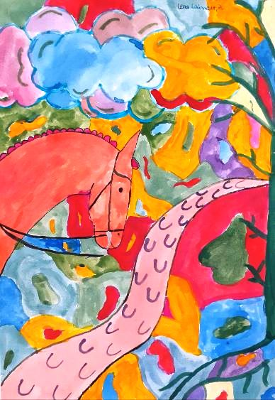 """KUnstwerk_des_Monats_Juni Lena Weinmüller (7c) """"Farben Mischen"""""""